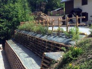 mur de soutènement en bois chamonix